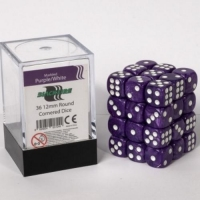 Blackfire 12mm D6 36 Dice Set Marbled Purple/White